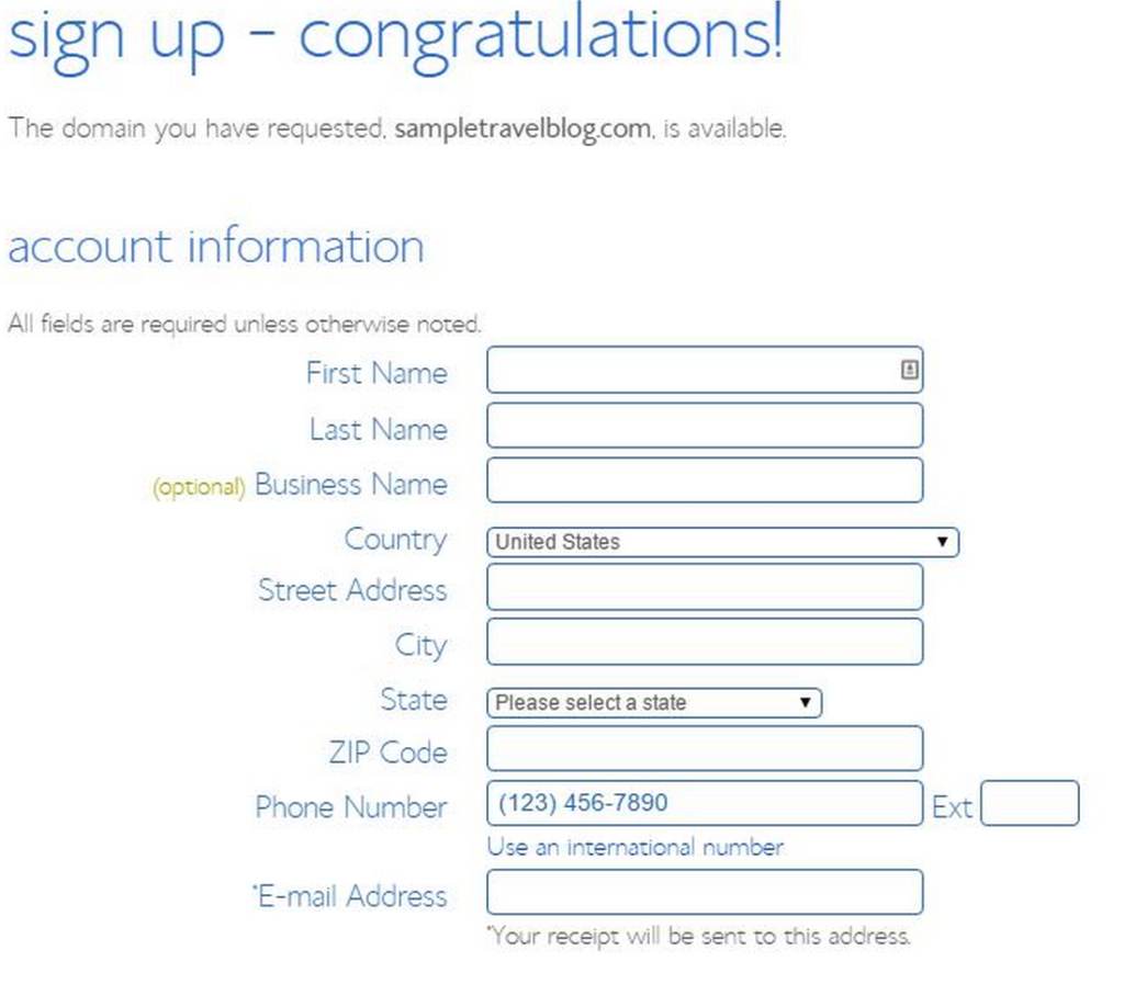 Bluehost Signup Congratulations