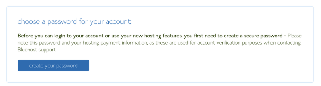 Bluehost password selection